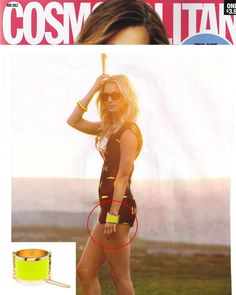 (May 2012)  @Cosmopolitan (Official) Magazine:  Revenge's Emily VanCamp wearing the CC Skye Neon Yellow RIVIERA CUFF. Also available in neon pink at CCSkye.com!