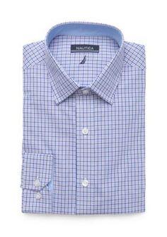 Nautica Blue Blue Peach Check Button Down Shirt