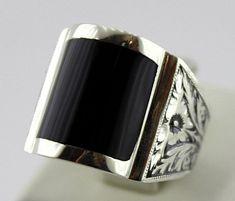 Sterling Silver 925 men ring design with oltu by SILVERforMEN
