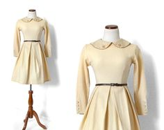 Buttercream Day Dress / 50s Winter Dress /  by MinxouriVintage, $78.00