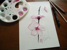Releitura de orquídea em aquarela