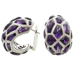 1stdibs | DE GRISOGONO Diamond Cabochon Amethyst White Gold Earrings