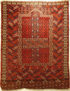 fine Tekke ensi fresh in all wool and natural dyes ca 1880 (latest) Some unusual features and ornaments. Saturated red ground and great natural brown elim. Wear to top middle detailed ...