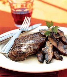 Pepper Crusted Steaks with Worchestershire  Portobello Mushrooms from Epicurious top rated recipes         Pepper-Crusted Steaks with Worcestershire-Glazed Portobellos Recipe  at Epicurious.com