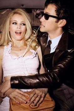"Joseph Gordon-Levitt with Claudia Schiffer photographed by Ellen von Unwerth in a photo shoot called Tie Me Up, Tie Me Down for ""GQ"" magazine april 2008......"
