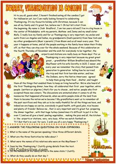 The 94 best reading comprehension images on pinterest in 2018 thanksgiving reading comprehension worksheet free esl printable worksheets made by teachers ibookread Download
