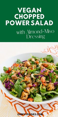 Customize this Chopped Power Salad with whatever veggies you have on hand, but don't skip the baked tofu—it's the best part! Vegetarian Grilling, Going Vegetarian, Grilling Recipes, Vegan Vegetarian, Vegetarian Recipes, Miso Tofu Recipe, Tofu Recipes, Miso Dressing, Dressing Recipe