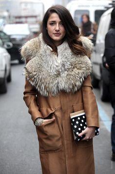 bundled up | coats with fur trim | Fur collar coats | Fall street style