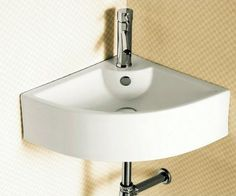 Corner White Ceramic Wall Mounted or Vessel Bathroom Sink - contemporary - bathroom sinks - TheBathOutlet