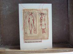 She stared at me - original mixed media art card by HG handmade