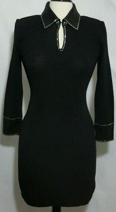St. John Evening Dress Black Long Sleeve Rhinestone Collar Keyhole Shift Size 6 #StJohnEveningbyMarieGray #MiniShift #Evening