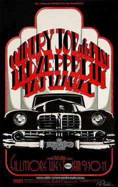 Led Zeppelin with Country Joe San Francisco Concert Poster 1969