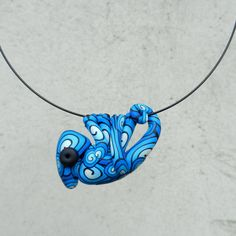Hand made polymer clay cute BLUE  chameleon pendant