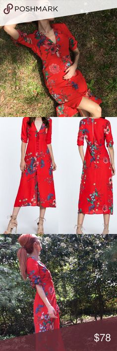"""Bohemian style red dress with floral design Red and flora patterns flow down this bohemian style dress with lace up front and key hole back slit. Ankle length and 3/4 sleeve with a deep V style neckline. Model is 5'4"""" and wears a size small. Dresses"""
