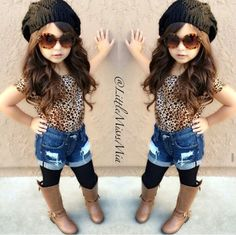 Hot Sale 2017 new summer girls girl fashion in Europe and America leopard short-sleeved T-shirt + jeans Clothing Sets Little Girl Outfits, Cute Outfits For Kids, Little Girl Fashion, Cute Little Girls, Toddler Outfits, Fashion Kids, Toddler Fashion, Outfits Niños, Little Fashionista