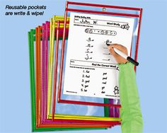 I used these wipe-off pockets with my reading intervention kids.  I didn't need to keep the papers to grade, and these were great for small groups - I only had to make a few copies of the worksheets but could use them for many kids!  Saves paper, and the kids loved them.  :)