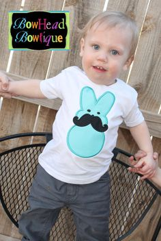 Easter Peep With Mustache White Applique Shirt or Onesie for Boys on Etsy, $22.00