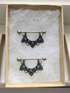 Set of 2 Opal Vantage Silver Nipple Rings. by wirewirewire