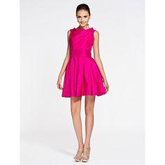 +A-line+Bateau+Short/+Mini+Taffeta+Bridesmaid+Dress+–+AUD+$+118.97