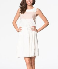 Love this Beige Color Block Sleeveless Dress on #zulily! #zulilyfinds