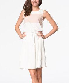 Look at this #zulilyfind! Beige Color Block Sleeveless Dress #zulilyfinds