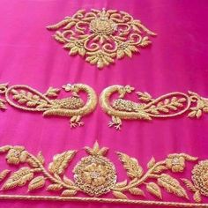 Silk Saree Blouse Designs, Bridal Blouse Designs, Blouse Neck Designs, Sleeve Designs, Blouse Patterns, Hand Work Embroidery, Embroidery Suits, Hand Embroidery Designs, Zardozi Embroidery