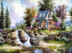 Dennis Lewan, 1943 ~ Fantasy painter | Tutt'Art@ | Pittura * Scultura * Poesia * Musica | Jim Mitchell, Thomas Kincaid, Cottage Art, Painted Cottage, House Landscape, Home Art, Watercolor Art, Puzzle, Amazing Art
