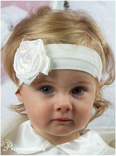 (EM-15a) Stirnband in edlem Champagner mit Netz - Princessmoda - Alles für Taufe Kommunion und festliche Anlässe