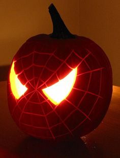 Spiderman pumpkin ~ too cool for halloween! My son will love this!