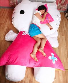 Huge Comfortable Hello Kitty Cute Cat Soft Cartoon Bed Sleeping Bag Pad Filling Stuffed Plush Tatami Big Large Size Toys Doll US $388.00