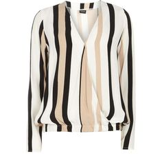 Dorothy Perkins **Vila Stripe Wrap Blouse (12.250 HUF) found on Polyvore featuring women's fashion, tops, blouses, shirts, blusas, multi colour, colorful striped shirt, stripe shirt, white shirt and white wrap blouse
