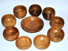 10 small bowls turned from oak-----have a couple of these and love them.  They keep porridge hotter than any other bowls.