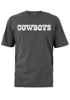 Dallas Cowboys T-Shirt- Mens Charcoal Grey Distressed White Wordmark Tee  Dallas Cowboys Outfits 6855241f8