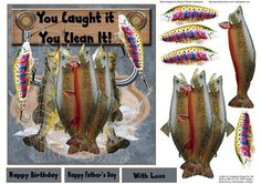 You Caught It Fishing Topper with Decoupage on Craftsuprint - Add To Basket!