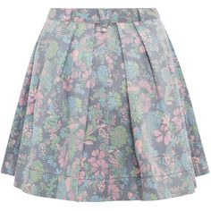 Marc by Marc Jacobs Blue Drew Blossom Denim Skirt ($335) ❤ liked on Polyvore