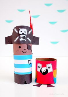 Toilet Roll Pirate and Parrot Craft | AllFreeHolidayCrafts.com