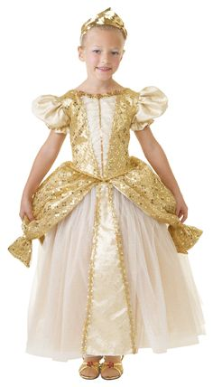 Child Small - Elegant Golden Gowned Princess Costume, Elegant and Flowing in this Golden Gown with Glitter Accenst From Puppet Workshop's Fabulous Dress-Up Line, Princess Dress Up, Princess Girl, Golden Princess, New Halloween Costumes, Dress Up Outfits, Clothing Deals, Fabulous Dresses, Sweater Fashion, Gowns