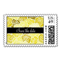 "Vintage yellow roses ""Save the date"" postage #yellow #wedding #weddinginvitations #savethedate #weddings #zazzle"