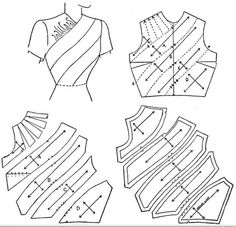 how to alter a pattern to include extra fabric for pleats, ruffles and or stripes in different fabric. simple diagram