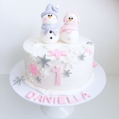 Winter onederland snowflake cake