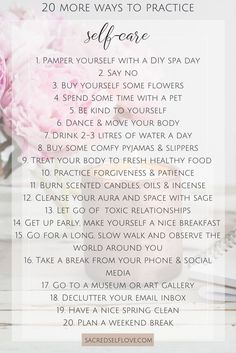 20 MORE ways to practice self care. Self Care is vital for your wellbeing. Don't forget to take care of yourself. Mwah! Pin Me, click me, try me, share me. Everybody deserves a little self love, self care and me time x