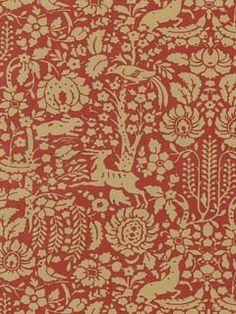 Toiles Impressions Wallpaper l American Blinds.com l Modern Gold and Crimson