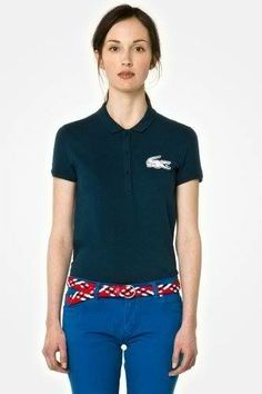 Brand New Authentic Factory Overrun Lacoste Women's L!ve Short Sleeve Pique Winking Croc Polo Color: Moss Green Php 1,950