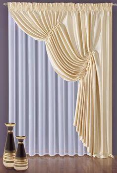 #Komplet_MILUZA Bardzo romantyczny i powabny komplet składający się z białej firanki z delikatnego woalu i satynowej zasłony w kolorze kremowym, uszytej na taśmie marszczącej. Całość prezentuje się bardzo elegancko i subtelnie. Z pewnością przypadnie do gustu tym, w których drzemie dusza romantyka. Wymiary użytkowe: 150 x 250 cm- firanka 150 x 270 cm- zasłona kasandra.com.pl