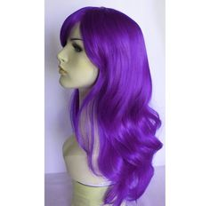 Long wavy purple wig with bangs by wigglywigs. Explore more products on http://wigglywigs.etsy.com