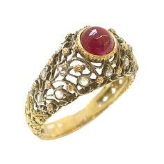 BUCCELLATI Gold and Diamond Ruby Ring, circa 1960
