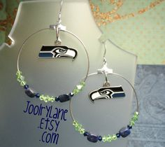 NFL  Hoop Earrings  Seattle Seahawks by joolrylane on Etsy, $29.00