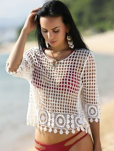 $9.45 Alluring 3/4 Sleeve Hollow Out White Crocheting Cover-Up For Women
