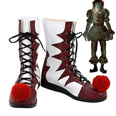 Pennywise Cosplay Shoes 2017 Film IT Halloween Clown Cosplay Costume Boots:   Pennywise Cosplay Shoes 2017 Film IT Halloween Clown Cosplay Costume Boots Custom Madebr Return Policy br Return is accepted within 7 days after the buyer's receiving the item. br If this item is defective upon receipt, customer has up to 7 days from date of receipt for exchange of a new one. br If the product has no quality problem and the buyer wants a return due to size problem, please note that that shipp...