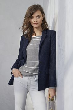 Style our navy speckled hacking jacket over a gray and white striped cashmere sweater and white jeans for a comfortable and tailored weekend look | Banana Republic